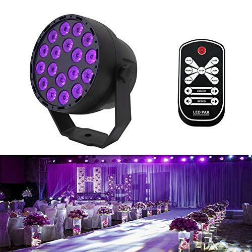 Aeo UV LED Schwarzlicht 54W 18 LEDs 7 Modi Schwarzes Strahler UV Lampe DMX512 Steuerung IR Fernbedienung Bühnenbeleuchtung für Parteien Bar Verein Disco Hochzeit