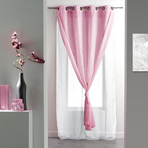Douceur d'intérieur  - 1623861, tendaggio con occhielli , 140 x 260 cm , voile double uni , doppio velo unito , bianco/rosa