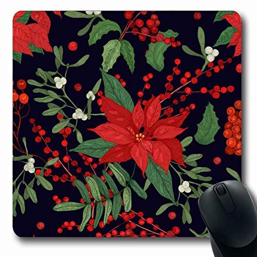 Luancrop Mousepad Oblong Endless Christmas Teile Winter Pflanzen Urlaub Muster Natur Green Poinsettia Holly Design Berry Büro Computer Laptop Notebook Mauspad, rutschfeste Gummi Holly Berry Designs