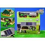 Unbekannt Kids Globe 5610048 - Schuppen inklusive Traktor mit Hänger und 3 Solarmodulen