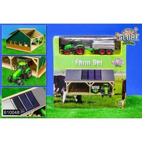 Niños Globe 5610048 - Conjunto de Juego de la Granja, incl. garaje con 3 paneles solares y tractor