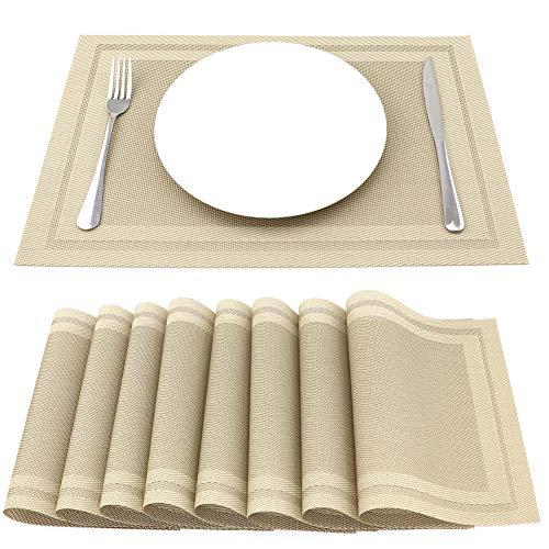 SueH Design Gewebte Platzsets/Tischsets 8er Set Vinyl 45 * 30 CM Gold