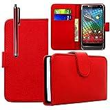 VCOMP Housse Coque Etui portefeuille cuir PU pour Motorola Razr i XT890 + stylet - ROUGE