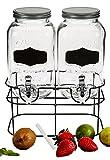 Bada Bing Doppelter Getränkespender Jeweils 3,5l aus Glas Zum Beschriften mit Zapfhahn und Deckel Inkl. Ständer und Kreide 21