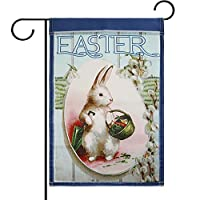 TecUnite Easter Garden Flag Rabbit Flowers Bunny Spring Basket Garden Flag Party Decorations 11.8 By 17.7 Inch