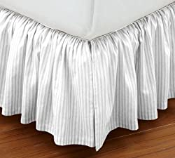 Super Soft Stripe White Queen Size Ruffle Bed Skirt 100% Cotton