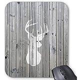 Rectángulo Gaming Mousepad Hipster Vintage y Color blanco cabeza de ciervo en gris madera alfombrilla de ratón