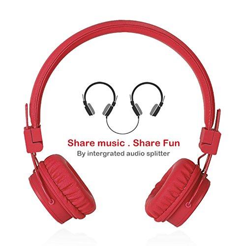 Termichy Kopfhörer Kinder für Jungen und Mädchen, Faltbarer Leicht On-Ear HiFi Stereo kopfhoerer Mit Abnehmbarem Audio Kabel und Share Port (Rot)