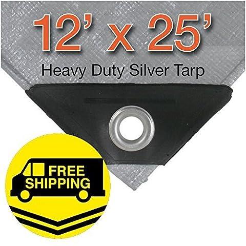 Super Heavy Duty Silver Tarps 12' x 25' by P-Line