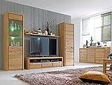 expendio Wohnzimmer Pisa 53 Eiche Bianco massiv 5-teilig Wohnwand Sideboard Wohnmöbel