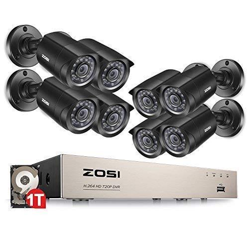 ZOSI TVI 720P 8CH DVR Enregistreur Vidéo avec 8pcs 1280TVL Caméra Surveillance Extérieure, 65ft (20m) Vision Nocturne, QR Code pour Accès à Distance en 3G / 4G / WiFi par Smartphone, Disque Dur 1TB