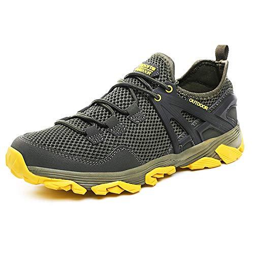 Idea Frames Herren Wanderschuhe Outdoor Sneaker Leichte rutschfeste Trainer für Trekking Camping Sportschuh, Grau/Gelb, 43 EU (Herstellergröße: 44)