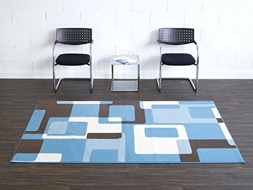 Teppich Retro blau beige braun / moderner Teppich / Wohnzimmerteppich / Wohnzimmerteppich in schönen Farben / Wohnzimmerteppich / Designerteppich in schönen Farben / Qualitätsteppich Designer Teppich Wohnteppich Teppich moderner Wohnzimmer Teppich / Als markantes Accessoire in Ihrem Wohnbereich - der Teppich strahlt einen Ausdruck von Abenteuerlust aus. Der Teppich passt mit seiner Farbgebung in jede moderne Wohnlandschaft. Trendiger Teppich in modischen Farben und Designs -