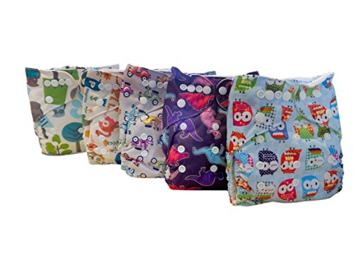 Famicheer Patterned Cloth Nappies (2 inserts each) - Set of 5 for Little Boys