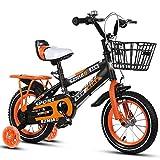 Bicyclehx Verstellbare Sitz Lenker Non-SlipTyres High-Carbon Stahl Weiblich Komfortable Sicher Bremse Fahrrad Kinder Fahrrad für Alter 2-9 Kind Geschenk (Color : Orange, Größe : 12 inch)