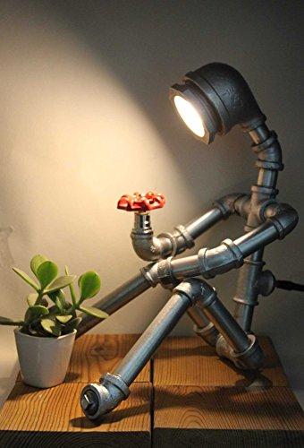 carg new nostalgia acqua industriale tubo robot lampada da tavolo creativa personalità abat - jour lettura accanto a letto l'arredamento moderno stile retrò luce industria americana