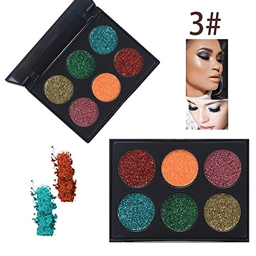 Rwhere Professionelle Glitzer Lidschatten Makeup Set - Langlebige Lidschatten Palette - Schminke Gesicht Pigmente Powder Makeup Kit (6 Farben) (Farben3)