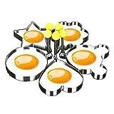 Moldes para freír huevos, GSY 5pcs un Set Huevo molde con forma de huevo para tortitas de huevo anillo moldes huevo molde molde cocina utensilios de cocina de acero inoxidable
