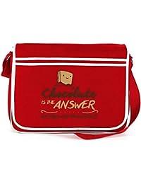 Shirtstreet24, Chocolate Is The Answer, Retro Messenger Bag Kuriertasche Umhängetasche