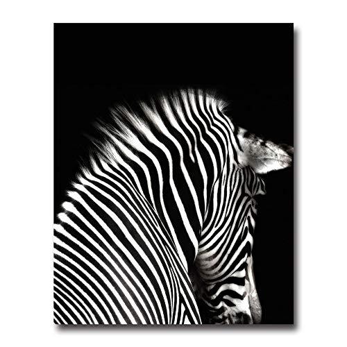 ZJMI Leinwanddrucke,Zebra Schwarz Weiss Tier Wand Kunst Leinwand Poster Prints Minimalistischen Abstrakte Malerei Wand Bild Wohnzimmer Home Decor (Zebra-print-leinwand-wand-kunst)