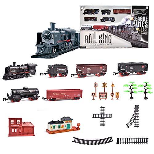 Tosbess Circuit Train Electrique, Circuit Voiture Électrique Classique avec Fumée , Locomotive électrique, Jeu Educatif Cadeau de Noël pour Enfant