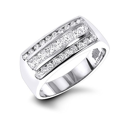 Cut White Princess Gold Herren-ring (Luxurman Men's Round & Princess Cut Diamond Ring 14K Wedding Band (White Gold Size 7.5))