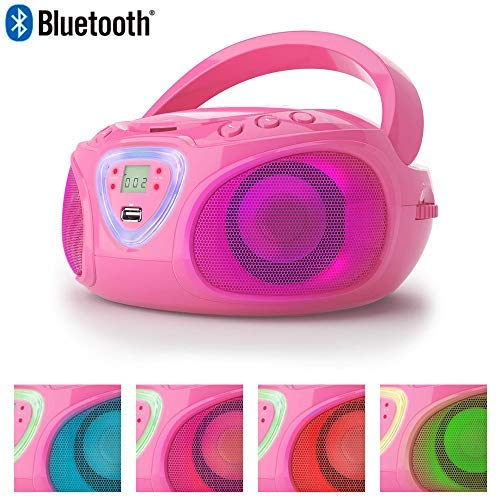 Lauson CP453 CD-Radio Bluetooth Tragbar mit LED-Effekt | CD-Player | USB-Port | Mp3 | Tragbares Stereo Radio | Kinder Radio mit LED-Beleuchtung (Pink LED)