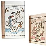 Geschenk zur Geburt: Baby Spardose mit Namen und Geburtsdaten personalisiert - für Jungen & Mädchen- Spardosen zur Geburt aus Holz mit Gravur - Motiv Storch
