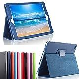 XEPTIO Ultra Slim Tasche Leder New Apple iPad 9.7 zoll 2017/2018 Wifi/4G/LTE Hülle blau navy New iPad 2017 Book Cover mit Stand - Zubehör Etui Tablet PC Schutzhülle case (PU Leder blue)