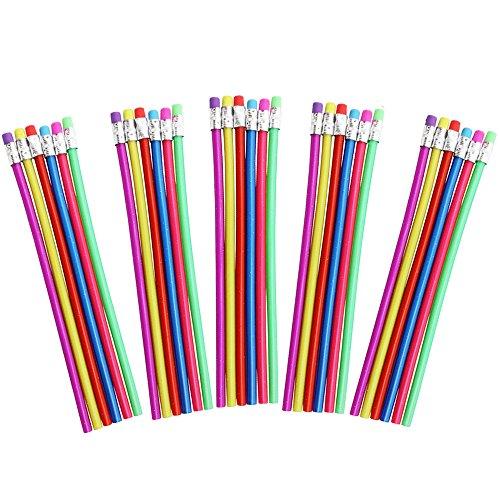 COM-FOUR® 30er Mix Biegsamer Zauber Bleistift mit Glitzereffekt ideal für Kinder, Härtegrad 2B, 18 cm (Farben Mix - 30 Stück)