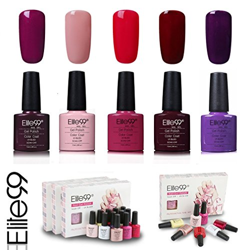 Elite99 smalto semipermente per unghie in gel uv led 5 colori kit per manicure regalo smalti gel per unghie soak off 7.3ml - kit006