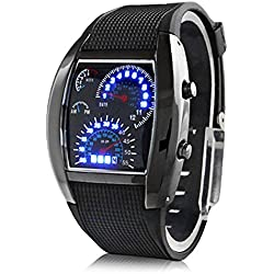 Digital LED Mens Watch with Rubber Strap (Black)