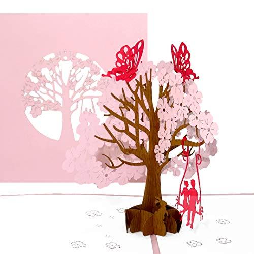 Pop-Up Karte'Butterflies in Love' - 3D Hochzeitskarte mit Umschlag - Einladung zur Hochzeit,...
