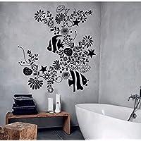 Wandtattoo Wandaufkleber Set Tattoo für Badezimmer Fische Algen Blasen Wasser
