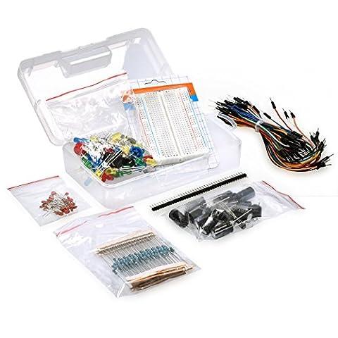 kwmobile Elektronik Kit 226x Elektronische Bauteile Set Steckbrett Steckverbinder LEDs