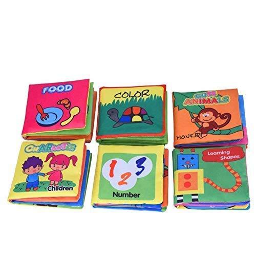 Yosoo blando de colour negro Puzzle paño bebé libro de tela acolchada libro apto para 3 meses hasta 3 años para niños, 10 x 9 cm aproximadamente, color Set of 6