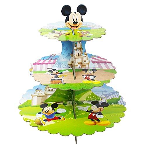 Wedding Decor Présentoir à cupcakes en carton Mickey Mouse, tour ronde à 3 étages pour anniversaire, mariage, fiançailles, réceptions, fêtes et événements