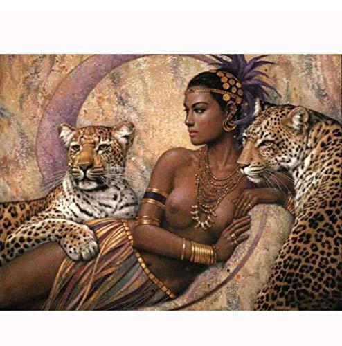 GZDXHN Plein Tour 5D DIY Diamant Peinture Femme Nue Et Tigres Diamant Broderie Point De Croix Mosaïque Autocollant Cadeau 40X50Cm