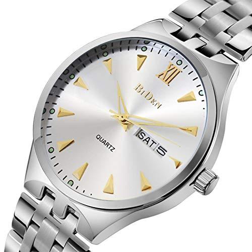 ♚Seven Top-Marken-Luxus-Armbanduhr-Mann-Quarz-Sport-Männliche Uhr-Stahlbügel-Mann-Uhr-Datum-Wochen-Geschäft,Gold