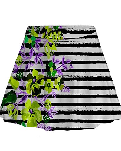 Cowcow-Mujer-extica-Hawaii-Flores-Mini-Flare-falda-Green-Hawaii-Stripe-XS
