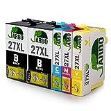 JARBO Ersetzt für Epson 27XL 27 Druckerpatronen (2 Schwarz, Blau, Rot, Gelb) mit hoher Reichweite für Epson WorkForce WF-3640 WF-3620 WF-7720 WF-7715 WF-7710 WF-7620 WF-7610 WF-7210 WF-7110