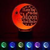 "Myfei Valentine's Day Moon 3D Night Light, ""I Love You"" Bedroom Desk Table Light, 7 Color LED Bedside Lamp USB Romantic Atmosphere Lamp Wedding Chrismas Gift for Kids"