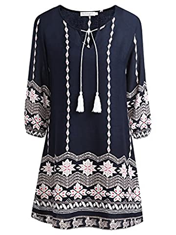 BAISHENGGT Women's Ethnic Style Floral Print 3/4 Sleeve V Neck Tassel Drawstring Mini Dress Blue-7