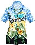 LA LEELA Brillante Moto Blu Stampato Nuotata della Spiaggia Camicia Hawaiana per Le Donne L