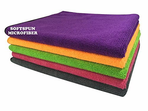 Softspun Microfiber Car Cleaning Cloth Set of 5 for Detailing...