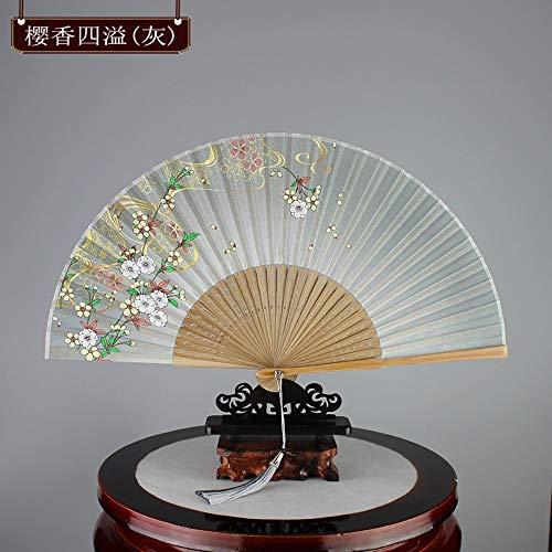 Folding Fan. Im Chinesischen Stil Japanische Grau Weiß Die Gelbe Blume Frauen Im Stil Der Alten Lüfter Kreative Klassische Geschenk Handwerk Ventilator Dekoration Sommer Kühl Portable Täglichen V