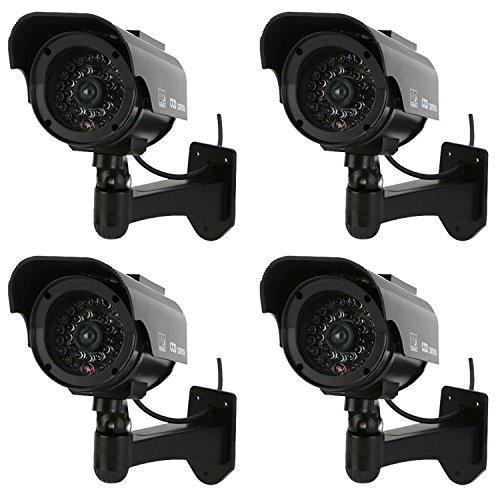 NONMON 4x Cámara de Vigilancia Falsa para Seguridad Interior/Exterior Imitación CCTV 90° Inclinación y 360° Rotación con Led Lámpara Solar (Negro)