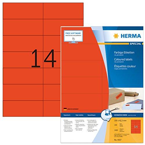 Herma 4557 Farbetiketten (105 x 42,3 mm auf DIN A4 Papier matt, selbstklebend) 1,400 Stück auf 100 Blatt bedruckbar, Rot