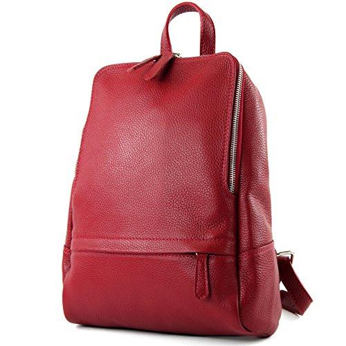 modamoda de - ital. Zaino in pelle Zaino donna Zaino Borsa Citybag in pelle T138, Colore:porpora