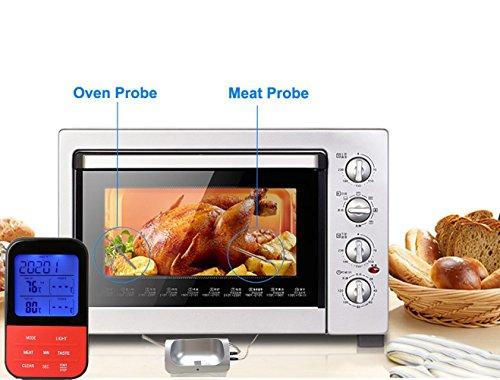 51HLqdKMxDL - Grillthermometer Digital Wasserabweisend 5S Barbecue Grill Thermometer Fleischthermometer, LED-Anzeige, °C/°F Umschaltbar, Lange Edelstahl Probe für Garten Grillen, Backen, Ofen, Kochen, Steak usw … (Rot)